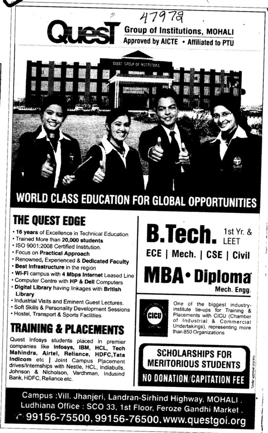 BTech and MBA Courses (Quest Group of Institutions)