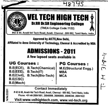 UG and PG Courses (Vel Tech Dr. RR and Dr. SR Technical University)
