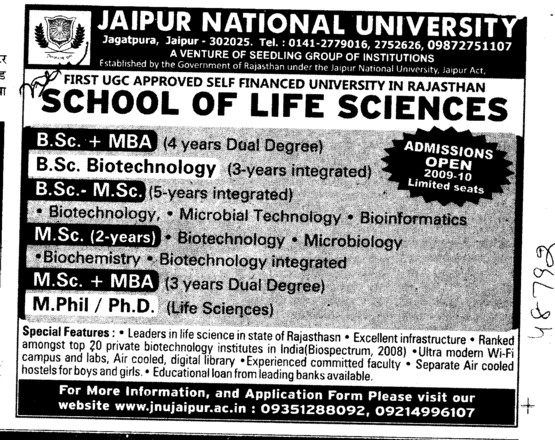 MBA MSc and MSc etc (Jaipur National University)