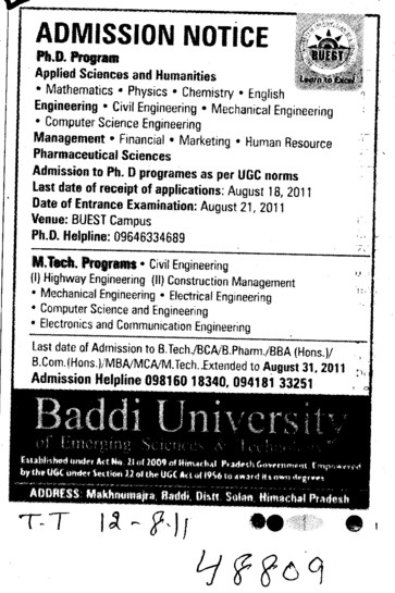 PhD and MTech Courses (Baddi University of Emerging Sciences and Technologies)
