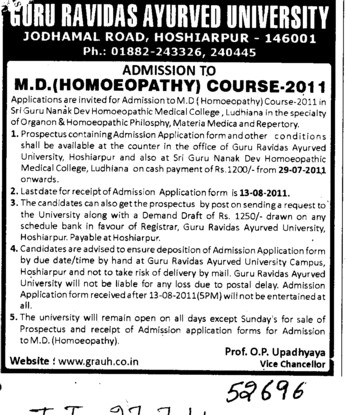 MD in Homeopathy (Guru Ravidass Ayurved University (GRAU))