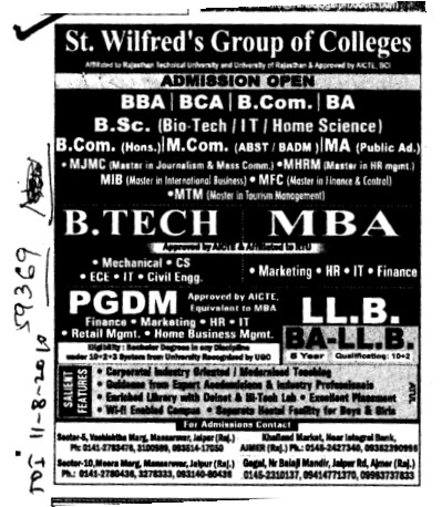 BTech MBA PGDM and LLB etc (St Wilfreds Group of Colleges)