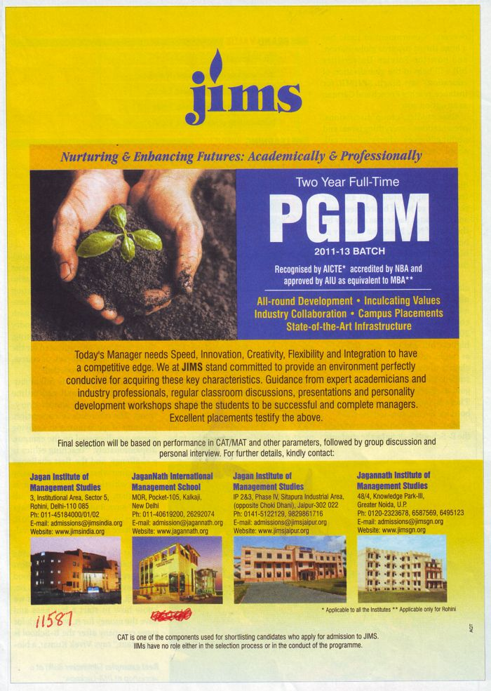 Post Graduate Diploma in Management (Jagannath Institute of Management Studies (JIMS))