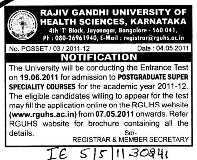 PostGraduate Super Speciality Courses (Rajiv Gandhi University of Health Sciences RGUHS)