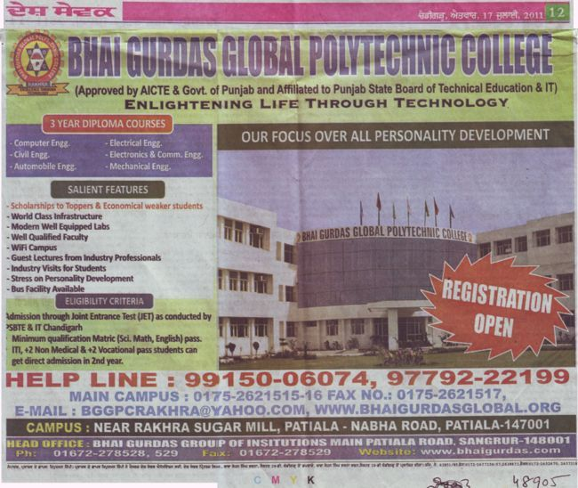 Three years Diploma in BTech (Bhai Gurdas Global Polytechnic College)