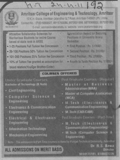 BTech in CSE ECE and Civil etc (Amritsar College of Engineering and Technology ACET Manawala)