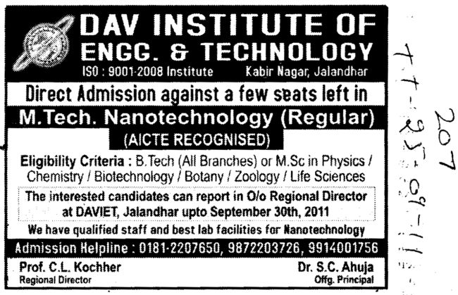 MTech in Nano technology (DAV Institute of Engineering and Technology DAVIET)