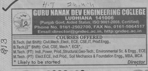 BTech and MTech Courses (Guru Nanak Dev Engineering College (GNDEC))