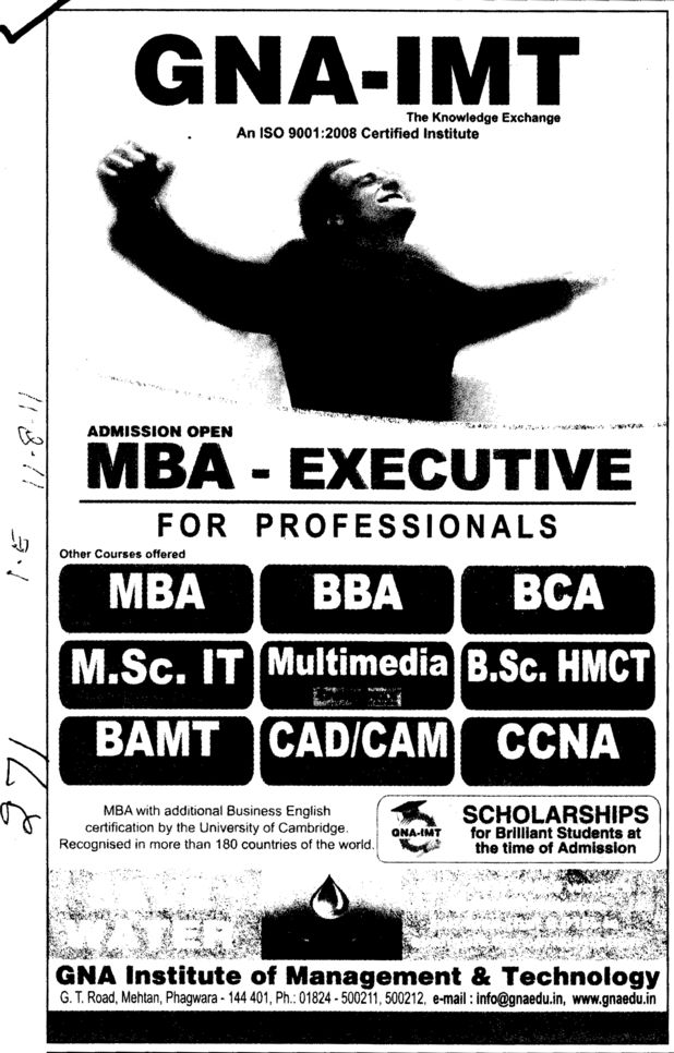 MBA BBA BCA and MSc IT etc (GNA Institute of Management and Technology)