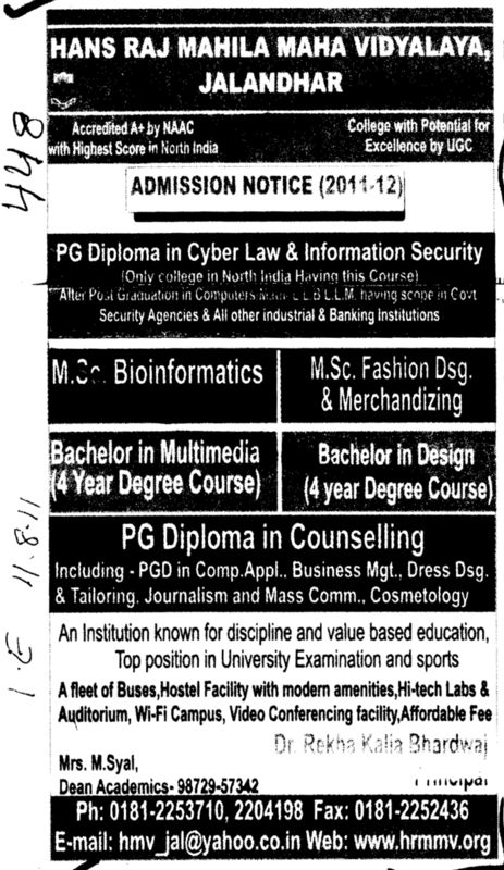 PG Diploma Bachelor in multimedia and MSc in fashion Designing etc (Hans Raj Mahila Vidyalaya)