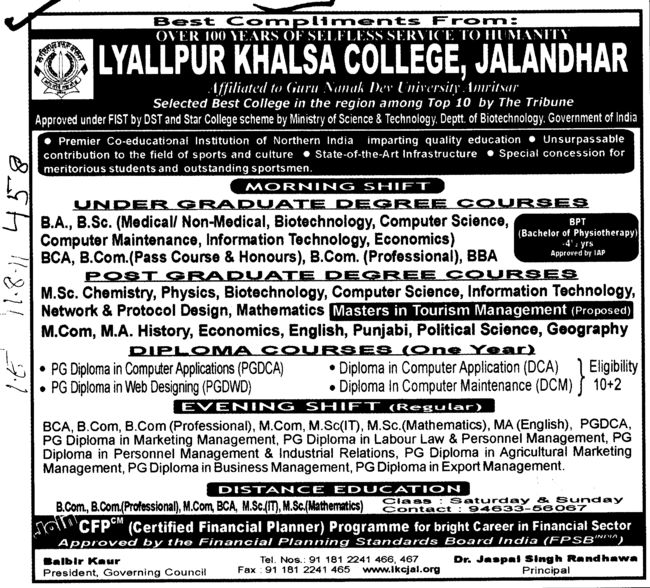 BA BSc BBA MSc and MA etc (Lyallpur Khalsa College of Boys)