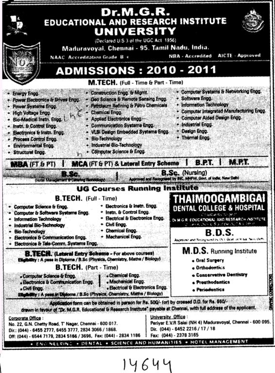 MTech BTech MCA and BPT Courses etc (Dr MGR Educational and Research Institute University)