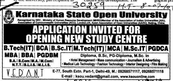 BTEch BBA MBA and MSc etc (Karnataka State Open University KSOU)