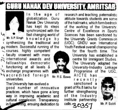 Message of Mr S P Singh and R S Bawa etc (Guru Nanak Dev University (GNDU))