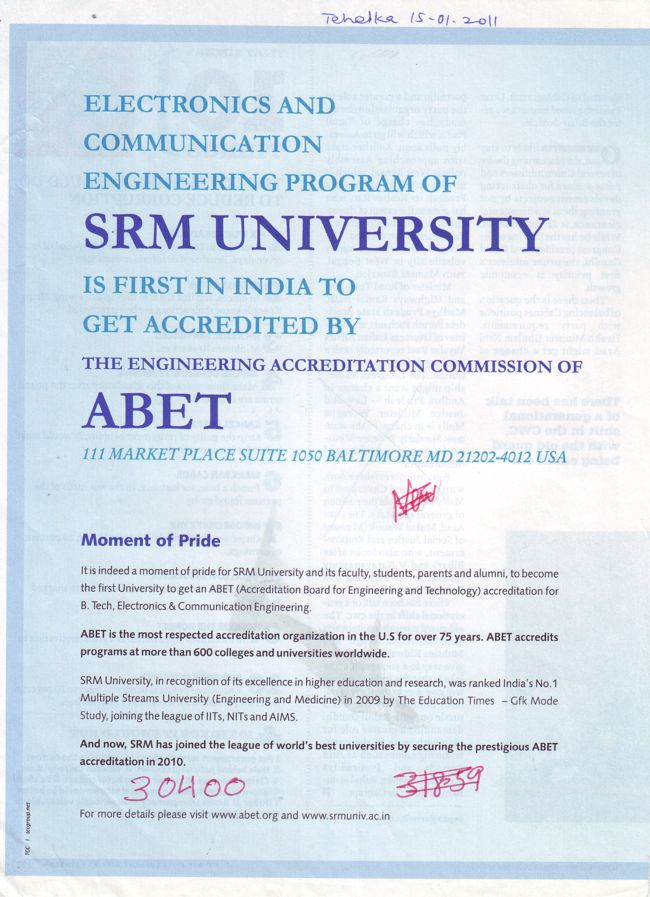 Electronics and Communication engineering Programme (SRM University)