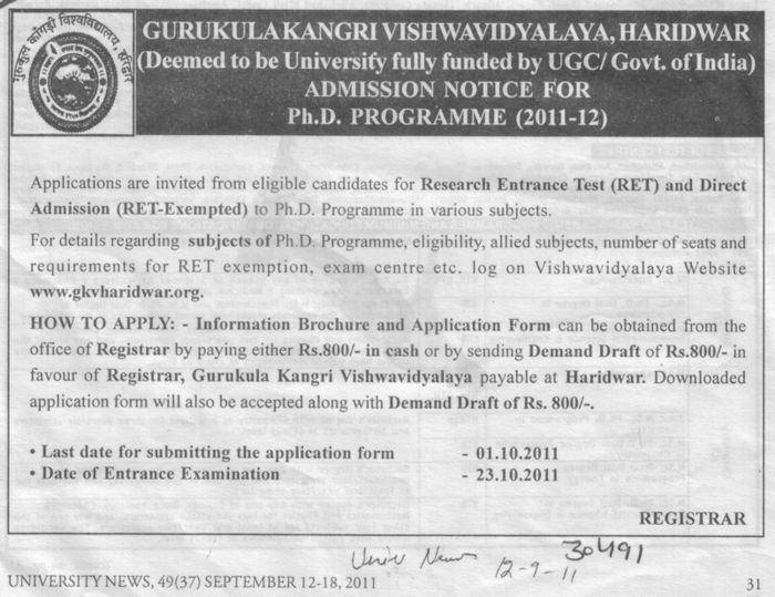 Research Entrance Test (Gurukul Kangri Vishwavidyalaya)