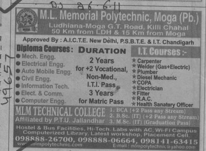 BTech in CSE ECE and Civil etc (ML Memorial Polytechnic College)