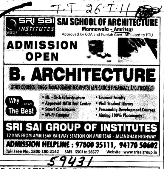 B Arch course (Sai School of Architecture)