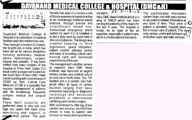 Modern ICU Block the Largest one in India (Dayanand Medical College and Hospital DMC)