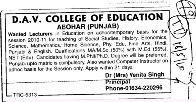 Wanted Lecturers for History and Economics etc (DAV College of Education)