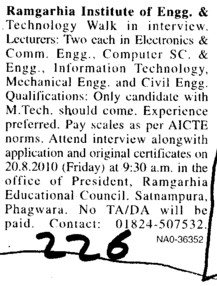 Lecturers for Computer Science and information Technology etc (Ramgarhia Institute of Engineering and Technology RIET)