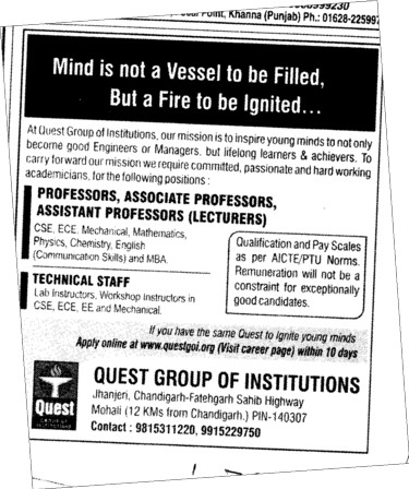 Proffessors Associate Proffessors and Assistant Proffessors etc (Quest Group of Institutions)