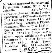 HOD and Lecturers on regular basis (St Soldier Institute of Pharmacy and Polytechnic)