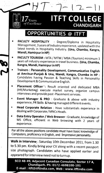 Faculty Hospitality Placement Officer and Data entry Operator etc (ITFT-Institute of Tourism and Future Management Trends)