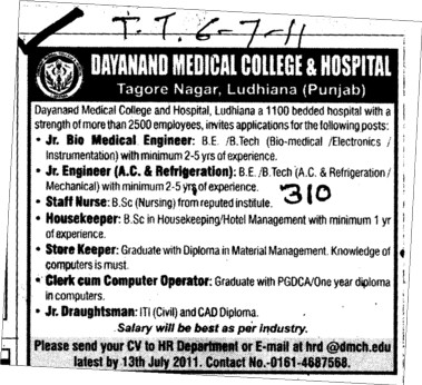 Staff Nurse and Housekeeper etc (Dayanand Medical College and Hospital DMC)