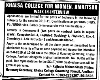 Lecturer in English Math and Hindi etc (Khalsa College for Women)