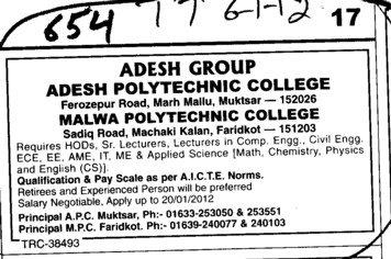 HOD and Lecturers in Computer etc (Malwa Polytechnic College)