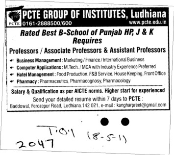 Proffessors Associate Proffessors and Assistant Proffessors etc (PCTE Group of Insitutes Baddowal)