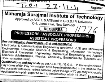 Proffessors Associate Proffessors and Assistant Proffessors etc (Maharaja Surajmal Institute of Technology)