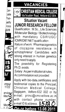 Junior Research fellow (CMC Medical College)