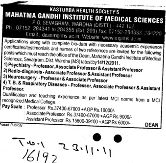Proffessors Associate Proffessors and Assistant Proffessors etc (Mahatma Gandhi Institute of Medical Sciences)
