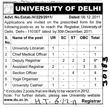 University Librarian Assistant Registrar and Yoga Organiser etc (Delhi University)