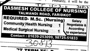 MSc Nursing and Medical Surgical Nursing etc (Delhi University)