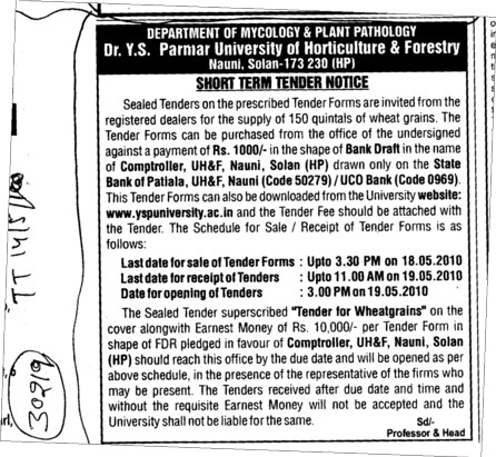 Tender Notice for the Supply of 150 quintals of wheat grains (Dr Yashwant Singh Parmar University of Horticulture and Forestry)