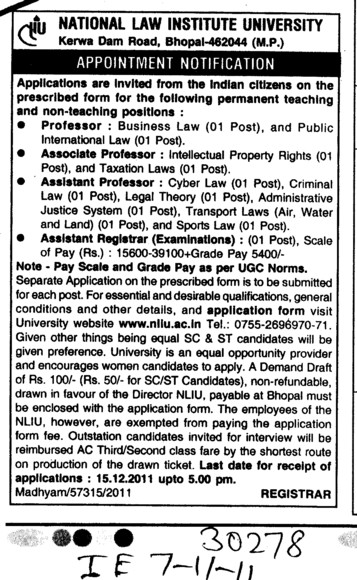 Proffessors Associate Proffessors and Assistant Proffessors etc (National Law Institute University (NLIU))