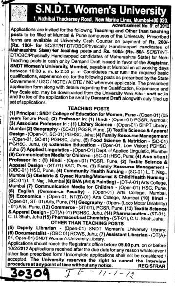 Principal Lecturer Proffessors Associate Proffessors and Assistant Proffessors etc (SNDT Women University)