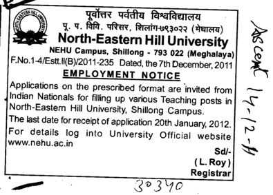 Employment Notice (North Eastern Hill University (NEHU))