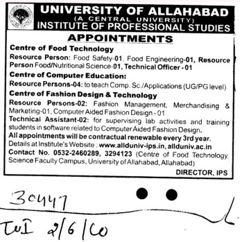 Resource person and Technical Assistant etc (University of Allahabad)