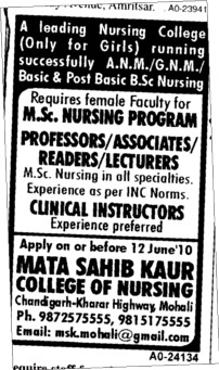 Proffessors Associate Proffessors and Assistant Proffessors etc (Mata Sahib Kaur College of Nursing)
