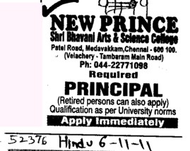 Principal required (New Prince Shri Bhavani Art and Science College)