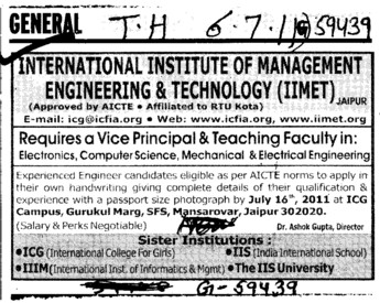 Principal and Teaching Faculty (IIS Group)