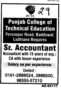 Senior Accountant (Punjab College of Technical Education)