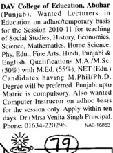 Lecturer for Temporary basis (DAV College of Education)