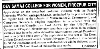 Lecturers for Mathematics and Commerce etc (Dev Samaj College for Women)