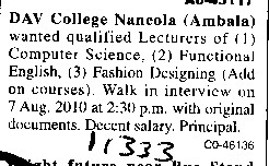 Lecturers for Functional English and fashion Designing (DAV College)