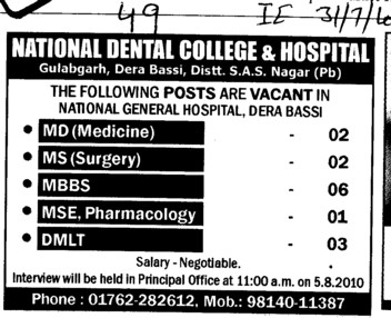 MD MS MBBS and DMLT etc (National Dental College and Hospital Gulabgarh)